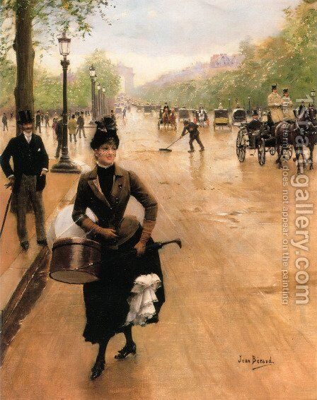 La Modiste Sur Les Champs Elysees (The Milliner on the Champs Elysees) by Jean-Georges Beraud - Reproduction Oil Painting