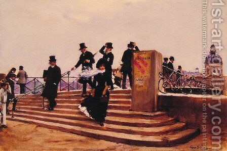 Pont des arts (Bridge of Art) (or Windy day) by Jean-Georges Beraud - Reproduction Oil Painting