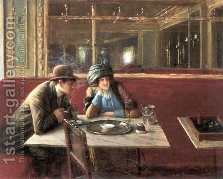 Au Cafe by Jean-Georges Beraud - Reproduction Oil Painting
