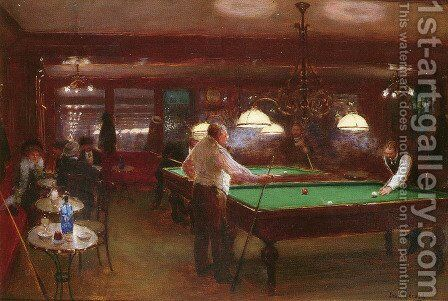 La Partie De Billard (A Game of Billiards) by Jean-Georges Beraud - Reproduction Oil Painting
