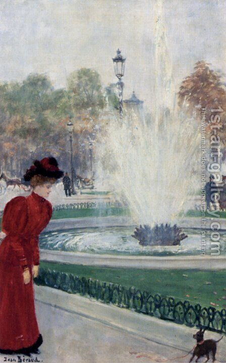 Parisienne Au Rond-Point Des Champs-Elysees by Jean-Georges Beraud - Reproduction Oil Painting