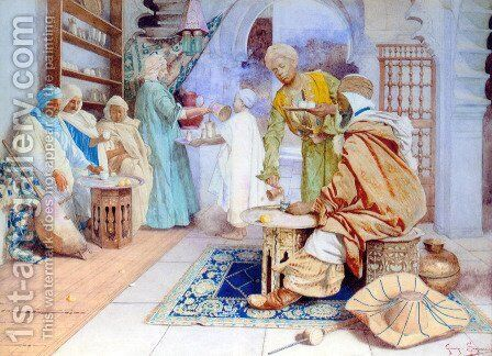 An Arab Cafe by Guiseppe Signorini - Reproduction Oil Painting