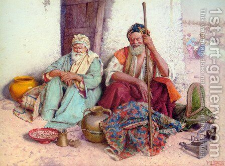 Arab Merchants by Guiseppe Signorini - Reproduction Oil Painting