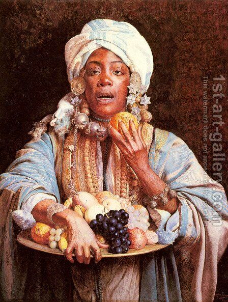 A North African Fruit Vendor by Guiseppe Signorini - Reproduction Oil Painting