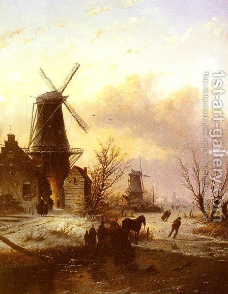 Skaters on a Frozen River I by Jan Jacob Coenraad Spohler - Reproduction Oil Painting