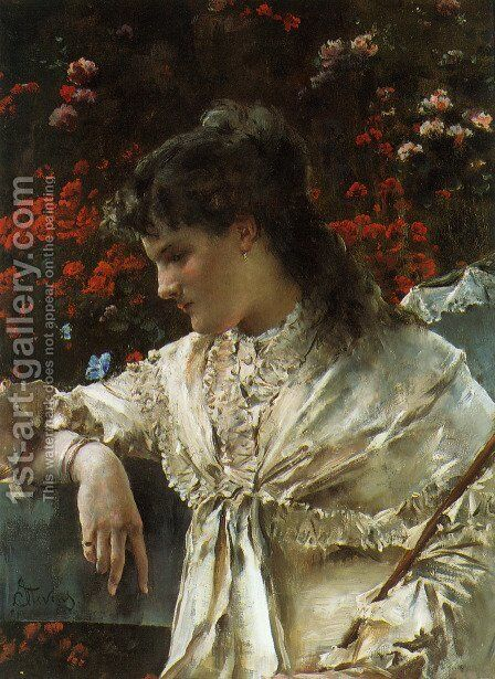 Reverie I by Alfred Stevens - Reproduction Oil Painting