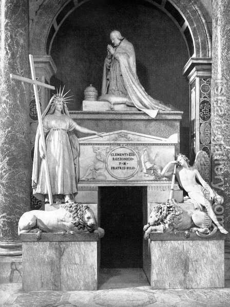Tomb of Pope Clement XIII by Antonio Canova - Reproduction Oil Painting