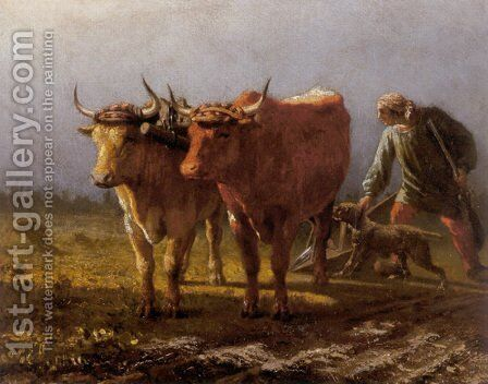 Plowing by Antony Troncet - Reproduction Oil Painting