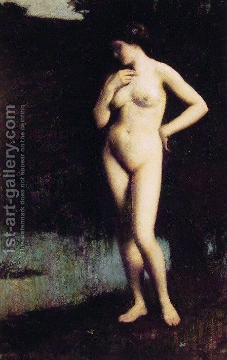 Standing Nude before the Lake by Antony Troncet - Reproduction Oil Painting
