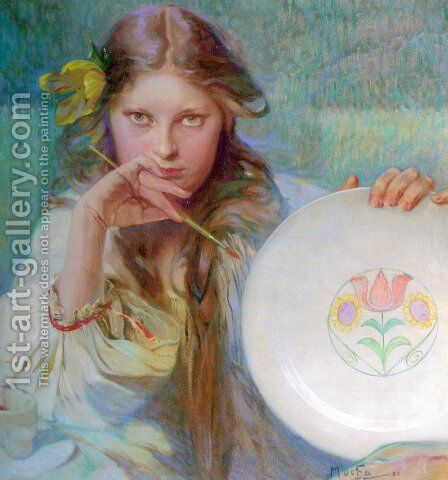 The Artist by Alphonse Maria Mucha - Reproduction Oil Painting