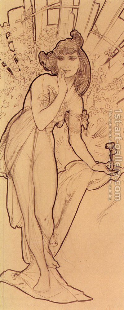 Carnation by Alphonse Maria Mucha - Reproduction Oil Painting