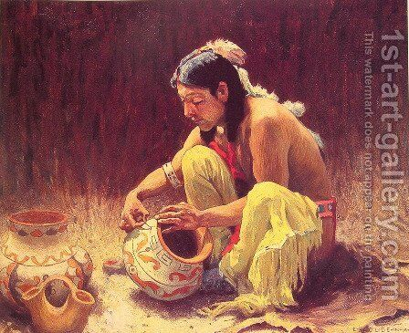 The Pottery Decorator by Eanger Irving Couse - Reproduction Oil Painting