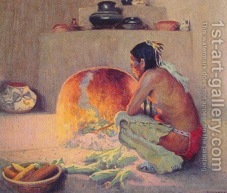 By the Fire by Eanger Irving Couse - Reproduction Oil Painting