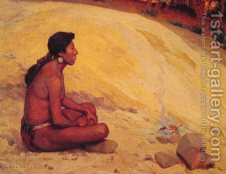 Indian Seated by a Campfire by Eanger Irving Couse - Reproduction Oil Painting