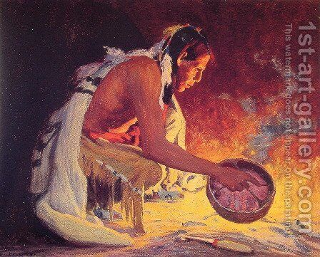 Indian by Firelight by Eanger Irving Couse - Reproduction Oil Painting