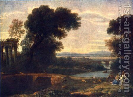 Landscape with Shepherds by Claude Lorrain (Gellee) - Reproduction Oil Painting