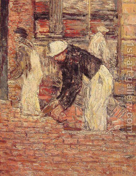 Bricklayers by Childe Hassam - Reproduction Oil Painting