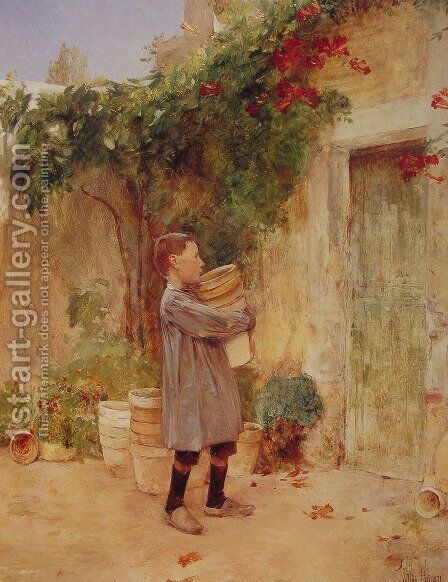 Boy with Flower Pots by Childe Hassam - Reproduction Oil Painting