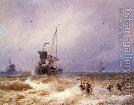 Fishing Scenes - Pic 2 by Herman Herzog - Reproduction Oil Painting