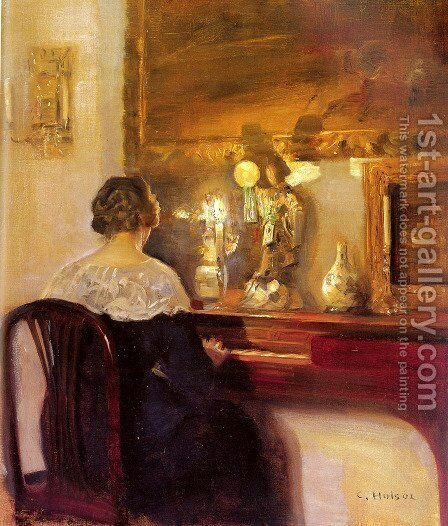 A Lady Playing the Spinet by Carl Vilhelm Holsoe - Reproduction Oil Painting