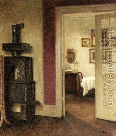 An Interior with a Stove and a View into a Dining Room by Carl Vilhelm Holsoe - Reproduction Oil Painting