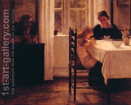 Breakfast Time by Carl Vilhelm Holsoe - Reproduction Oil Painting