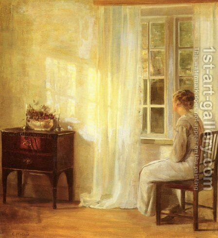 Waiting By The Window by Carl Vilhelm Holsoe - Reproduction Oil Painting