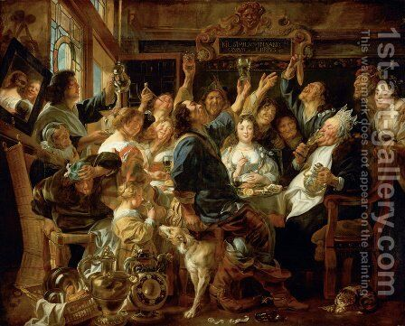 The Bean King I by Jacob Jordaens - Reproduction Oil Painting