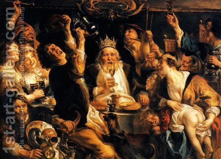 The King Drinks I by Jacob Jordaens - Reproduction Oil Painting