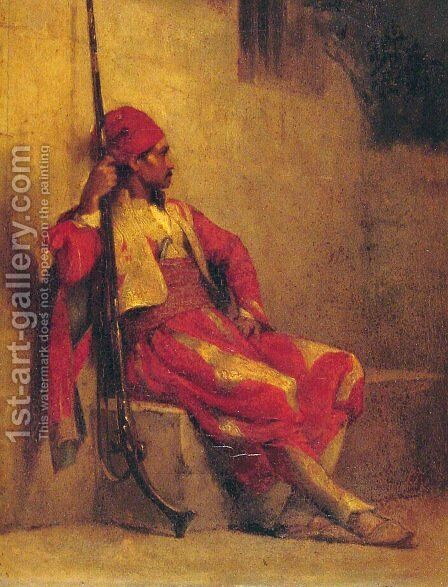 The Soldier by Jacques-Fernand Humbert - Reproduction Oil Painting