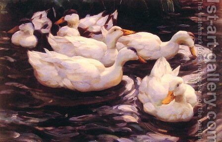 Six Ducks in the Pond by Alexander Max Koester - Reproduction Oil Painting