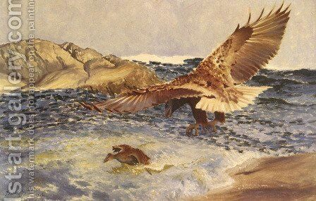 A Sea Eagle Chasing Eider Duck by Bruno Andreas Liljefors - Reproduction Oil Painting