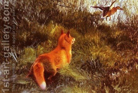 Eluding The Fox by Bruno Andreas Liljefors - Reproduction Oil Painting