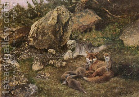 A Family of Foxes by Bruno Andreas Liljefors - Reproduction Oil Painting