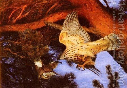 Hawk Attacking Prey by Bruno Andreas Liljefors - Reproduction Oil Painting