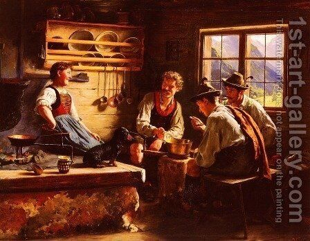 Kitchen Conversation by Emil Rau - Reproduction Oil Painting