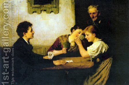 The Card Game by Hugo Oehmichen - Reproduction Oil Painting