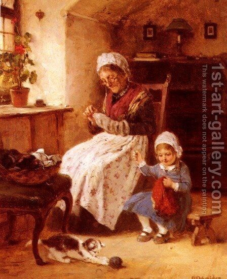 The Sewing Lesson by Hugo Oehmichen - Reproduction Oil Painting