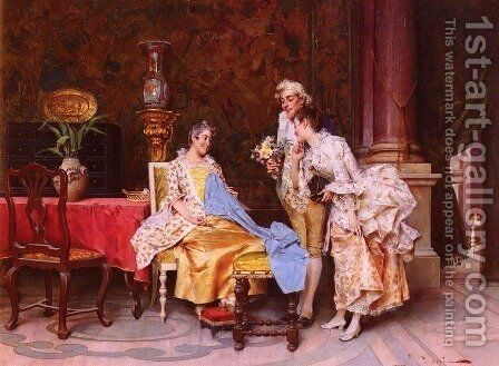 At The Dressmaker's by Adriano Cecchi - Reproduction Oil Painting