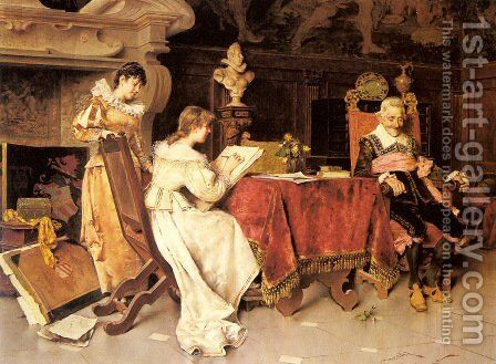 The Art Lesson by Adriano Cecchi - Reproduction Oil Painting