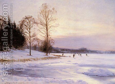 Skaters on A Frozen Pond by Sigvard Hansen - Reproduction Oil Painting