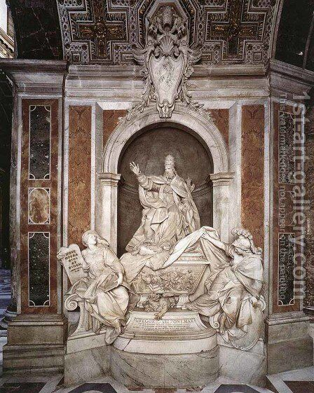 Tomb of Gregory XIII by Camillo Rusconi - Reproduction Oil Painting