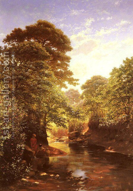 Water Carriers on the Banks of a River by Antoine Gadan - Reproduction Oil Painting