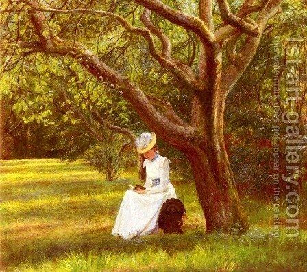 Reading In The Park by Micholine Anemine Christine Poulsen - Reproduction Oil Painting