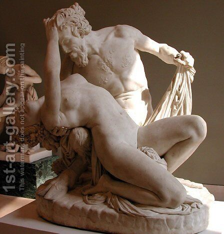 Satyre et Bacchante [detail #1] (Satyr and Bacchante) by James Pradier - Reproduction Oil Painting