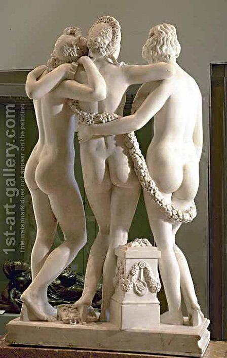 Les Trois Graces [detail #2] (The Three Graces) by James Pradier - Reproduction Oil Painting