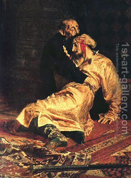 Ivan the Terrible and His Son Ivan on November 16, 1581 [detail] 2 by Ilya Efimovich Efimovich Repin - Reproduction Oil Painting