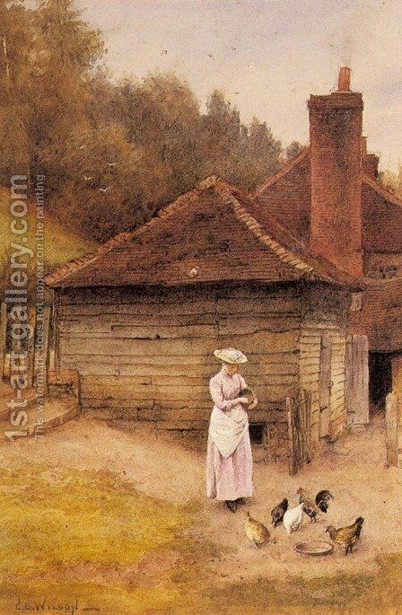 Feeding Chickens by Charles Edward Wilson - Reproduction Oil Painting