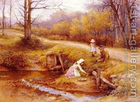 Gathering Primroses by Charles Edward Wilson - Reproduction Oil Painting