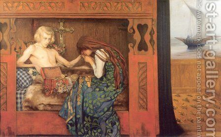 The Dying Betrothed by Agnes Slott-Mrller - Reproduction Oil Painting